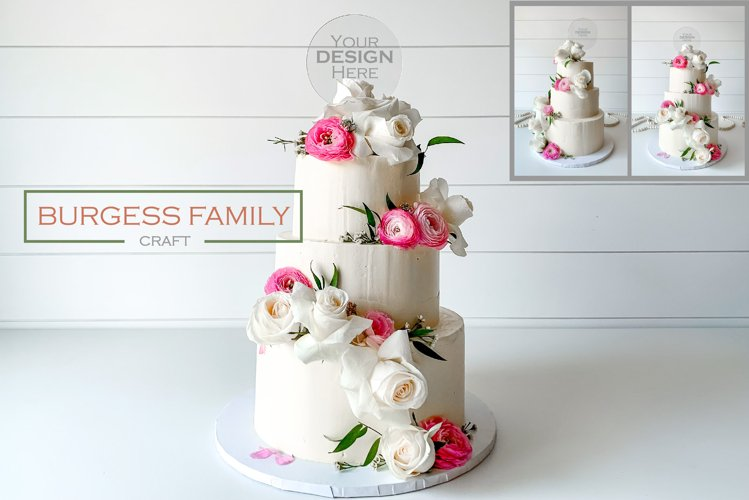 Mockup Cake Toppers round acrylic topper   JPEG example