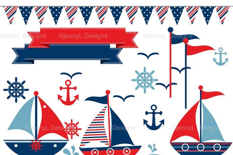 Nautical Sailing Clipart, Sail boat, anchor clipart
