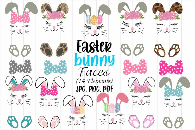 Easter Bunny Faces, Easter Sublimation Designs, Easter bows example image 1