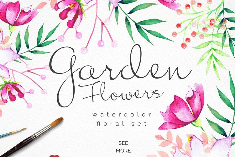 Garden Flowers Watercolor Set
