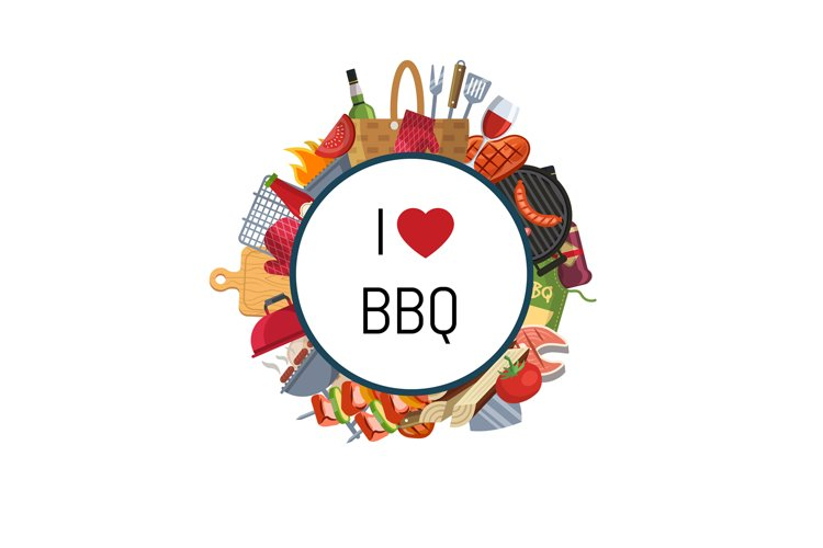 Barbecue or grill elements around circle example image 1