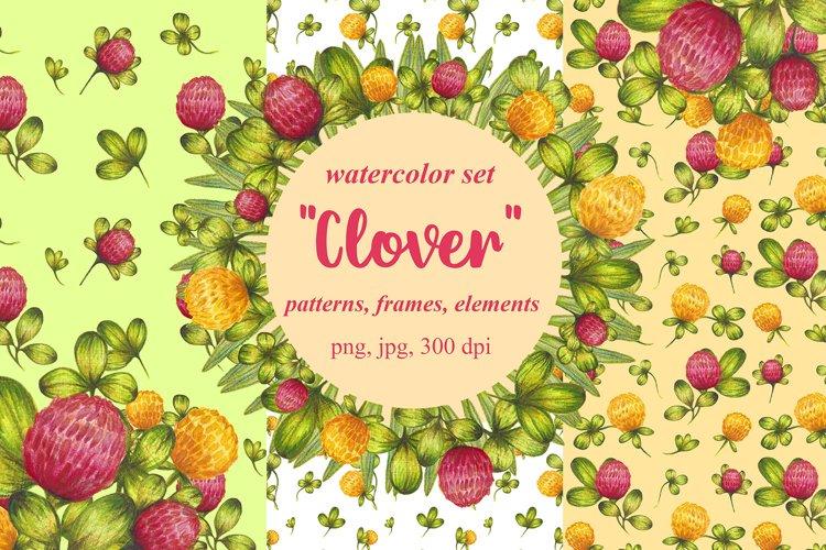 Set of watercolor design elements,patterns,wreathes Clover