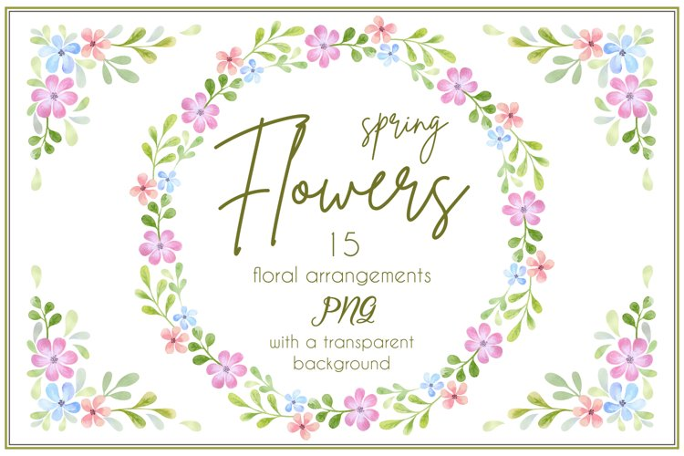 Spring flowers. Watercolor wreaths and bouquets.
