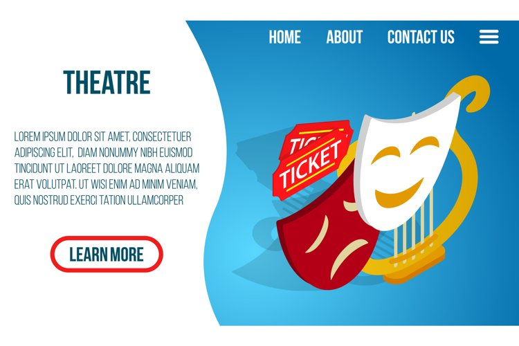 Theatre concept banner, isometric style example image 1