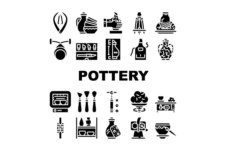 Pottery Production Collection Icons Set Vector example image 1