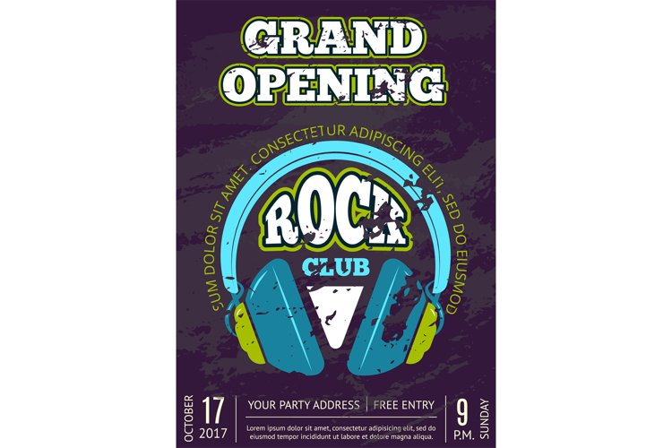 Vector rock music club, music shop with headphones example image 1