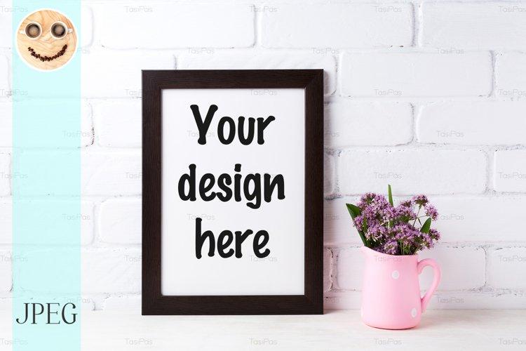 Black brown frame mockup with purple flowers in polka example image 1