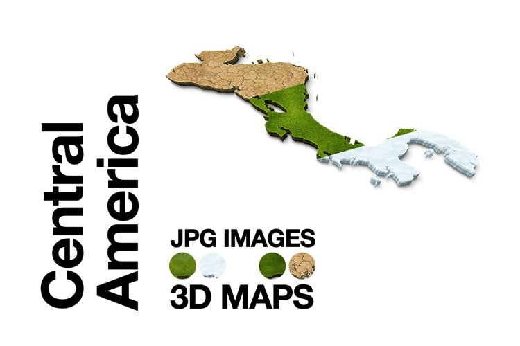 Central-America 3D Maps Images Dry Earth Snow Grass example image 1