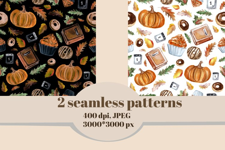Autumn watercolor clipart set. Thanksgiving day cards. example 2