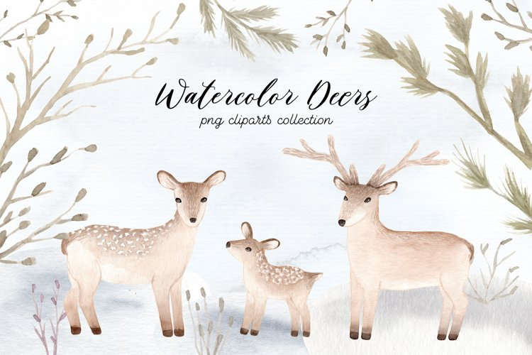 Watercolor Christmas Deers Cliparts example image 1