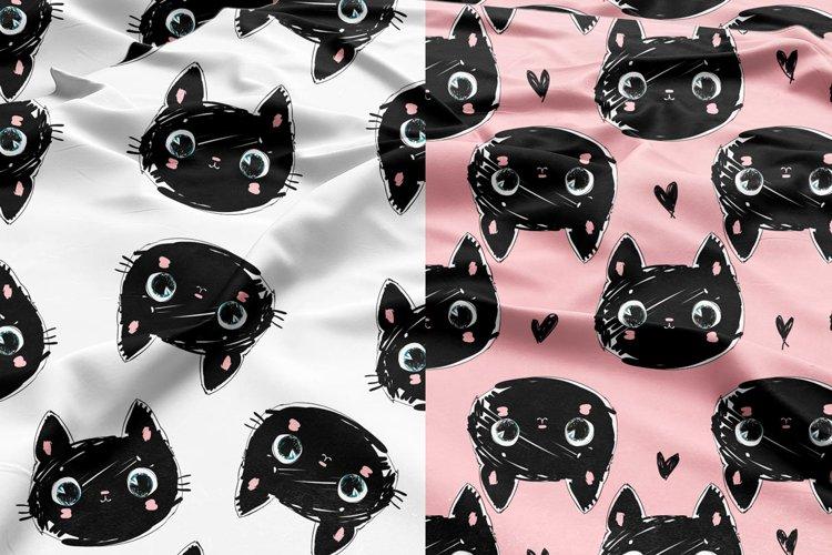 Hand Drawn Cute Black Cat Pattern example image 1