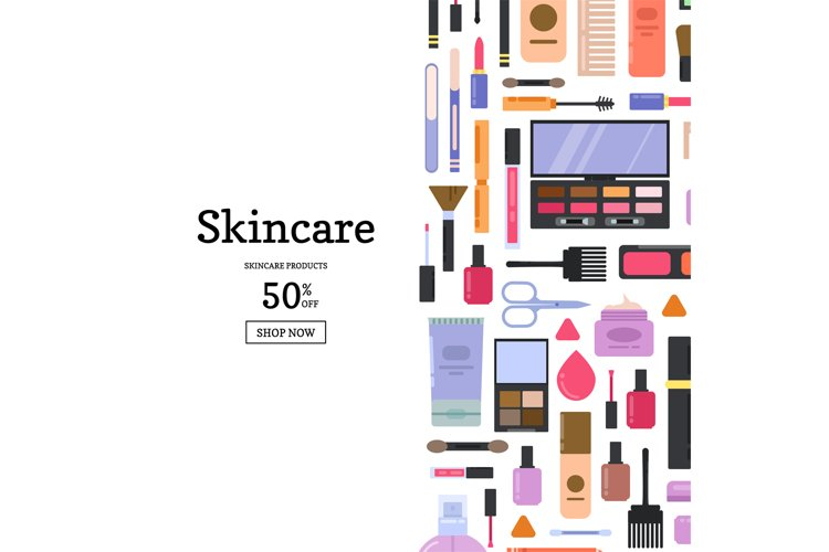 Vector flat style makeup and skincare example image 1