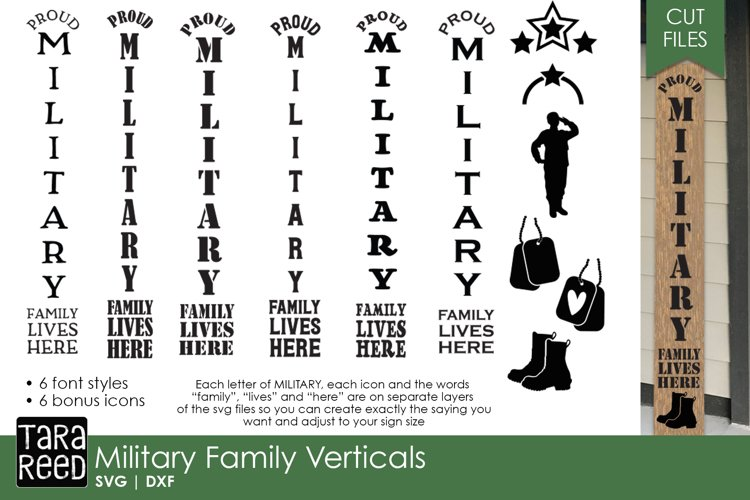 Military Family Vertical Sign Bundle