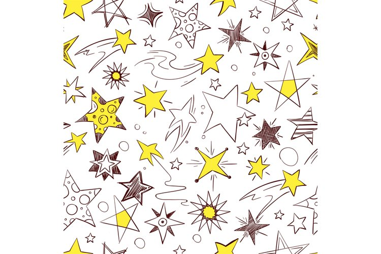 Seamless pattern with illustrations of hand drawn stars