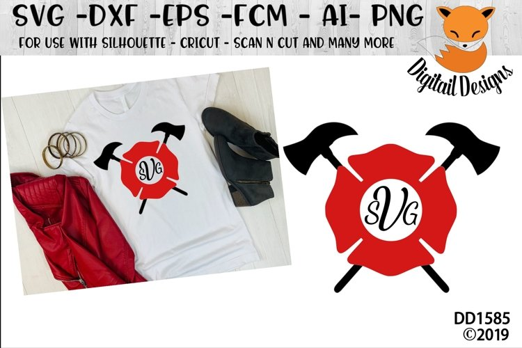 Firefighter Monogram Frame SVG - Silhouette - Cricut