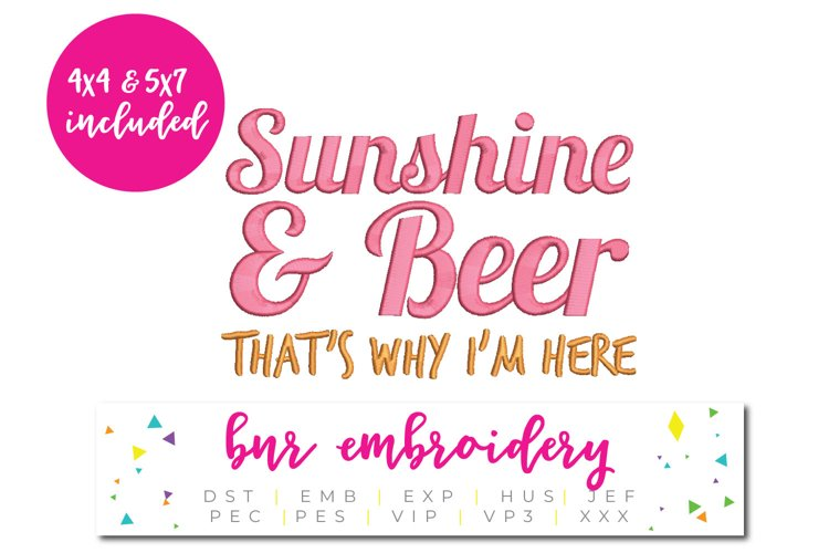 Sunshine and Beer Machine Embroidery Design example image 1