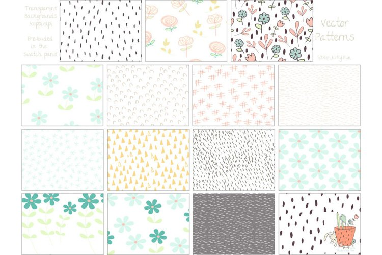 Kitty Fun Vector Swatches Patterns - Free Design of The Week Design1