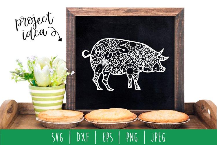 Pig Mandala Zentangle SVG, DXF, EPS, PNG, JPEG example image 1