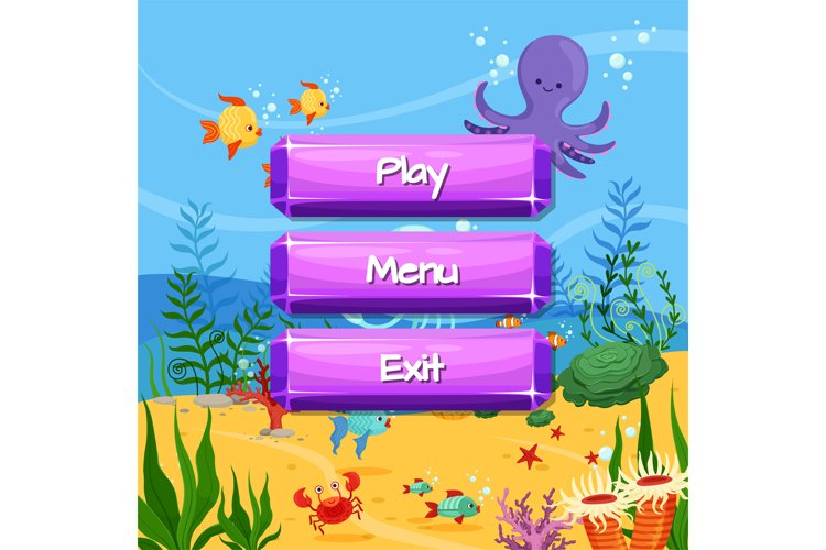 Vector cartoon style gemstone buttons design on sealife land example image 1