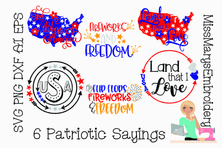 Fourth of July SVG | Patriotic Sayings Bundle SVG | America example image 1