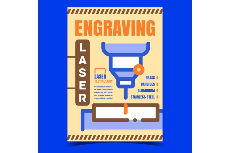 Engraving Laser Creative Advertise Poster Vector example image 1