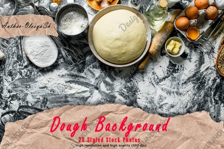 20 Photos Dough background. Dough preparation. Ingredients. example image 1