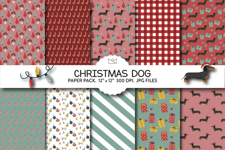 Christmas dogs digital paper pack, digital paper, christmas example image 1