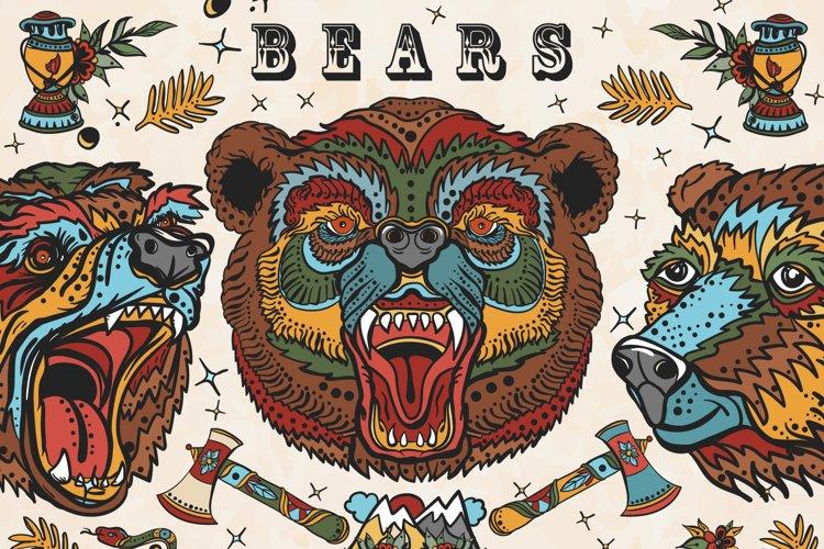 Bears old school tattoo example image 1