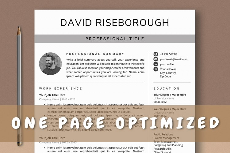 One Page Resume Template, Professional 1 Page CV Template example image 1