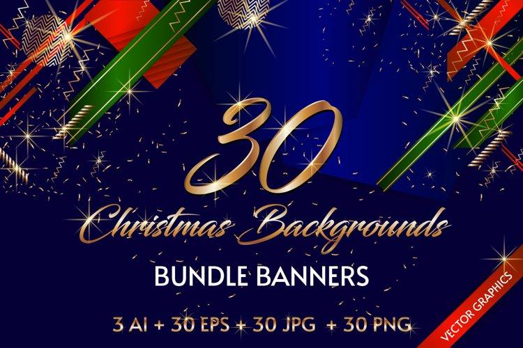 30 Christmas backgrounds bundle banners Ai Eps PNG Jpg