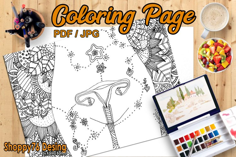 Healing of the uterus / coloring page example image 1