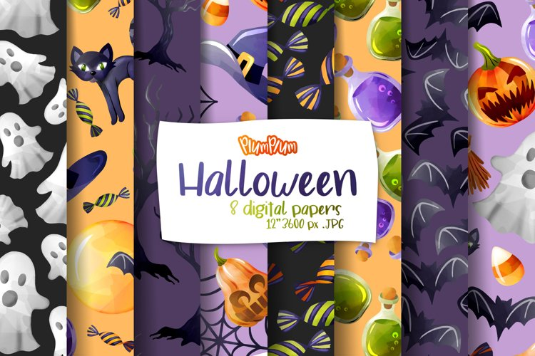 Halloween Digital Papers example image 1