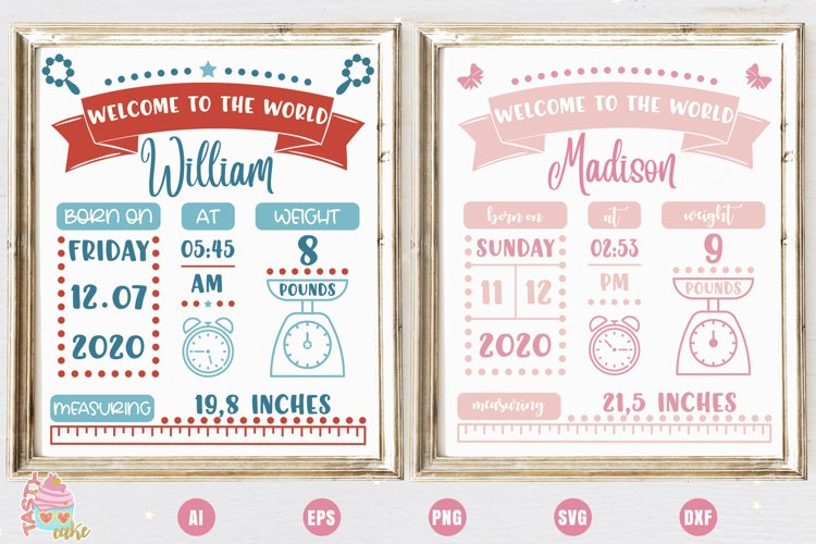 Baby Birth Stats - Birth Announcement Template example image 1