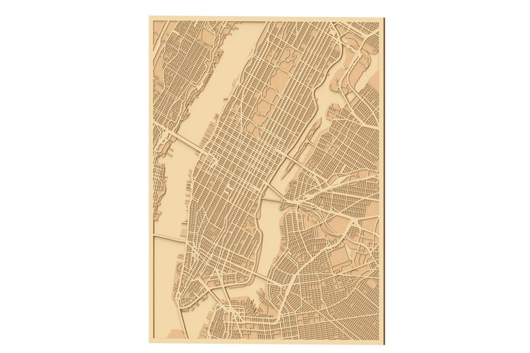 Laser cut files for New York City Map Extended example image 1