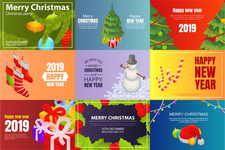 Christmas party banner set, isometric style example image 1