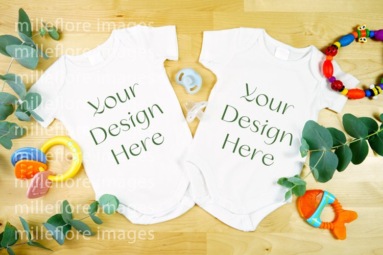 Baby Wear Onesie Bodysuit Two Twins Mockup Styled Photo example image 1