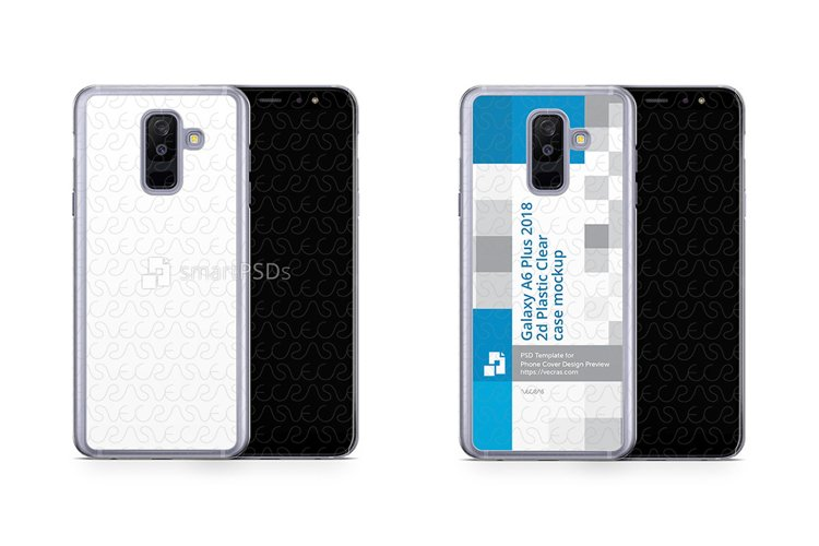Galaxy A6 Plus 2d PC Clear Case Design Mockup 2018 example image 1
