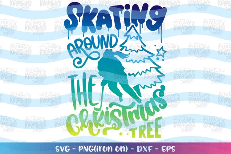 Christmas svg Ice Hockey girl svg Skating christmas tree example image 1