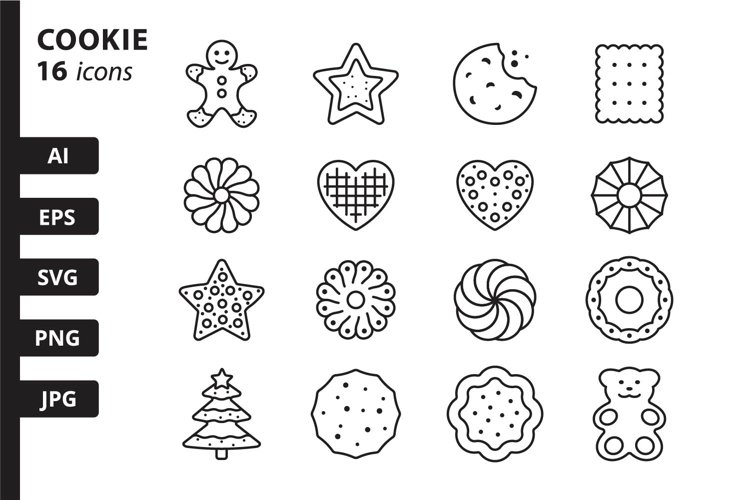16 Cookie Icons, colored and outline style