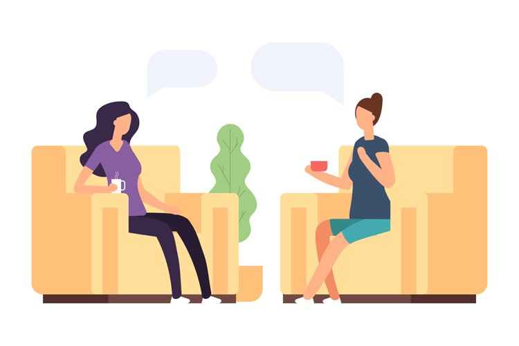 Two women are talking, psychoteraphy vector concept example image 1