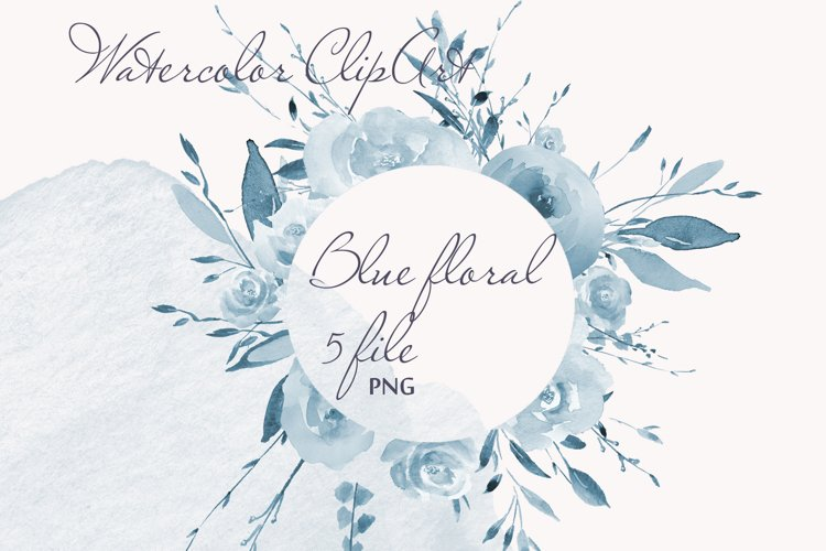 Blue Watercolor Floral Clipart Frame example image 1