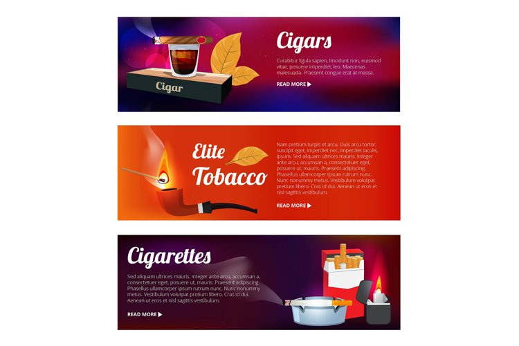 Horizontal banners with illustrations of hookah, cigarettes