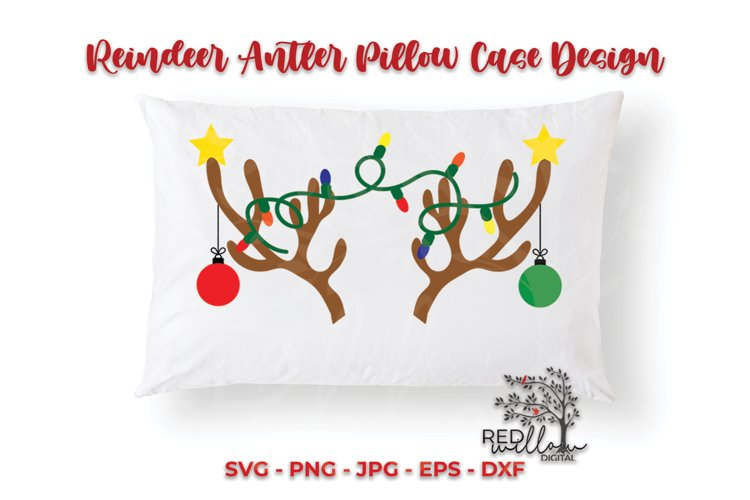 Reindeer Antler Christmas Pillow Case SVG, Christmas Pillow example image 1