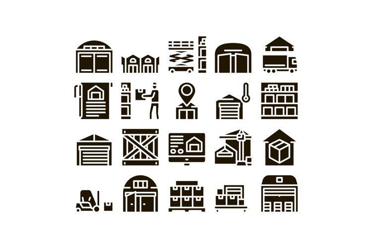Warehouse And Storage Glyph Set Vector example image 1