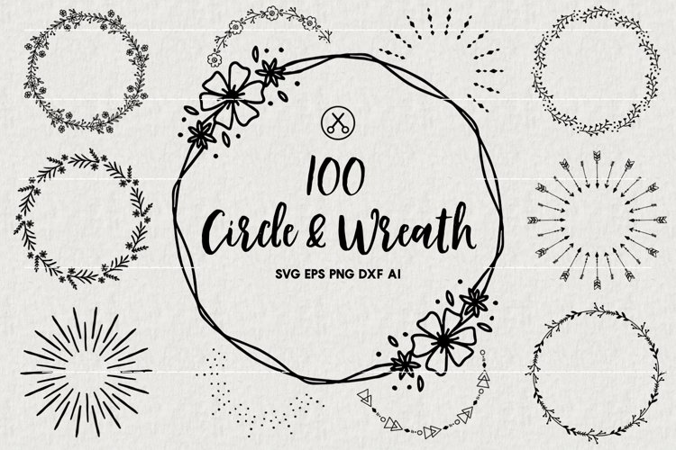 100 Wreaths and Circles SVG Bundle -VB example image 1