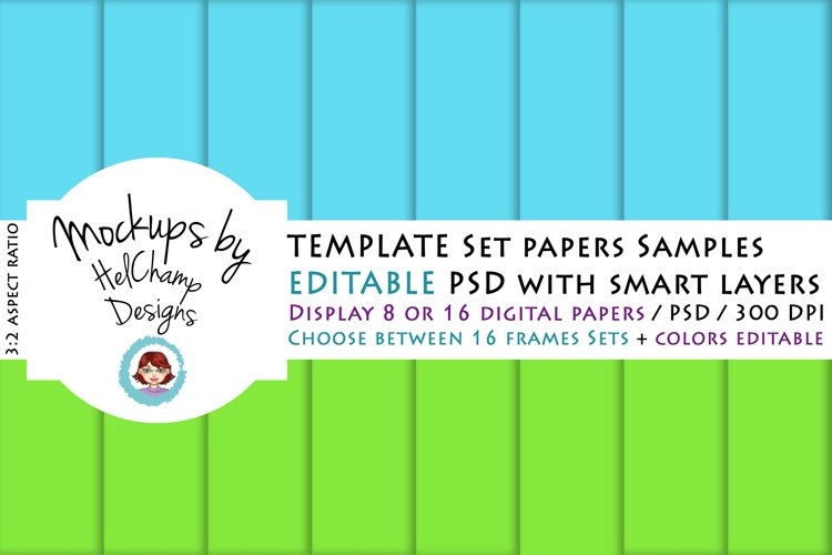 8 or 16 Panels Mockup for Digital Papers - TH06