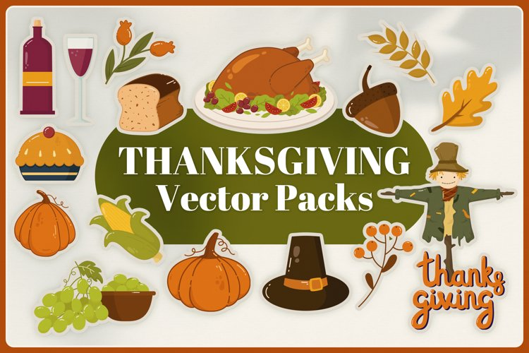 Thanksgiving Vector Clipart Packs example image 1