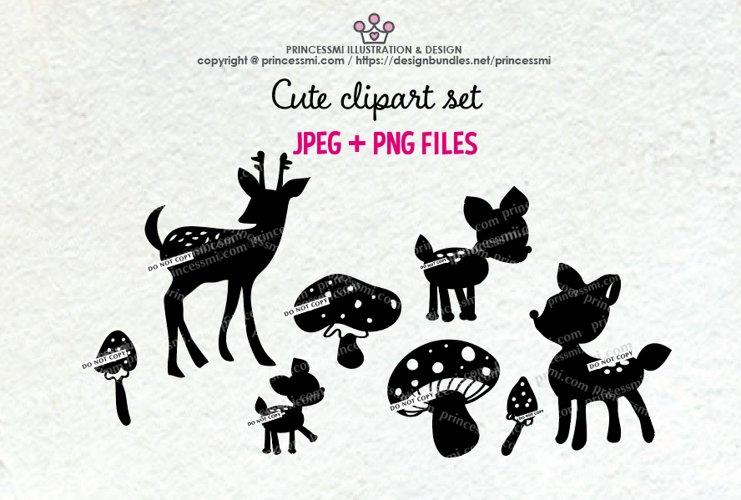 Deer clipart set, mushroom Silhouette clipart example image 1