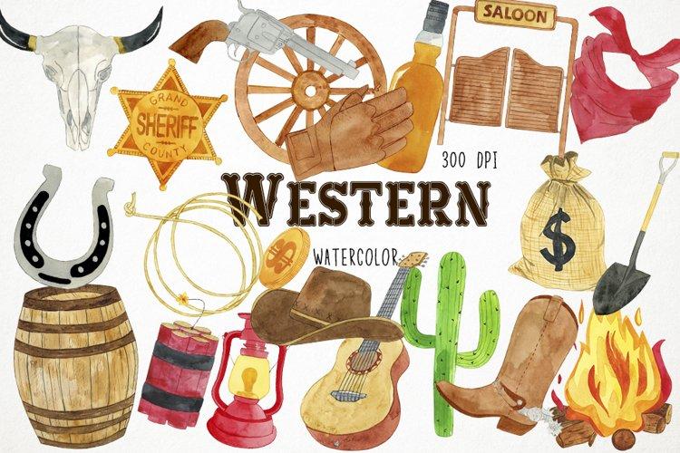 Watercolor Western Clipart, Western Clip Art, Cowboy Clipart