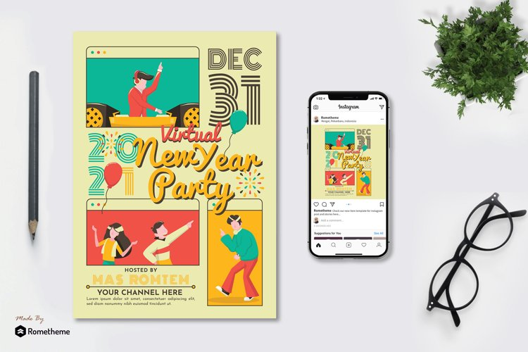 Virtual New Year Party Flyer & Instagram Post GR example image 1